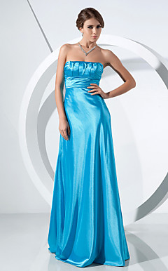 A-line Strapless Sweep/Brush Train Stretch Satin Evening Dress
