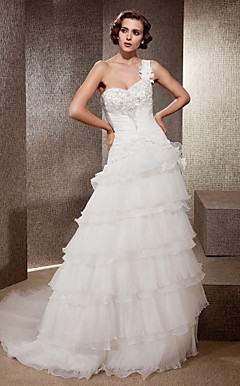 Romantic Layered One Shoulder Chapel Train Organza Wedding Dress