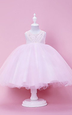 Cute Ball Gown with Button Flower Girl Dress