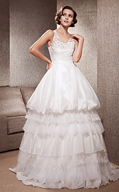 A-line V-neck Sweep/Brush Train Lace Taffeta Wedding Dress