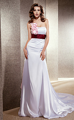 Sheath/ Column One Shoulder Cathedral Train Elastic Silk-like Satin Wedding Dress