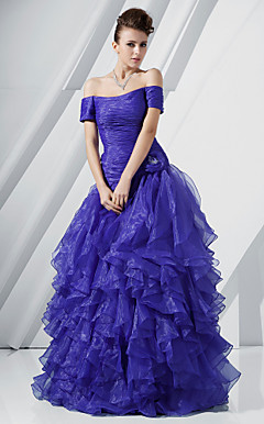 A-line Off-the-shoulder Floor-length Organza Evening Dress