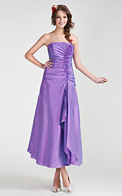 A-line Strapless Tea-length Taffeta Organza Bridesmaid Dress