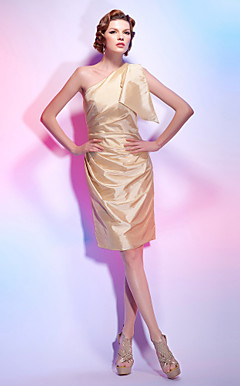 Charmeuse Sheath/Column One Shoulder Knee-length Cocktail Dress inspired by Eva Longoria