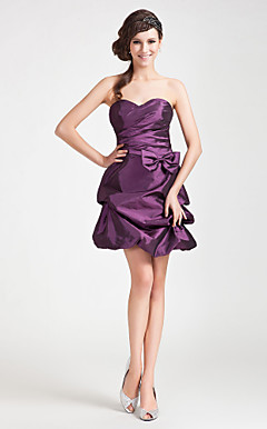 A-line Sweetheart Short/Mini Taffeta Satin Bridesmaid Dress