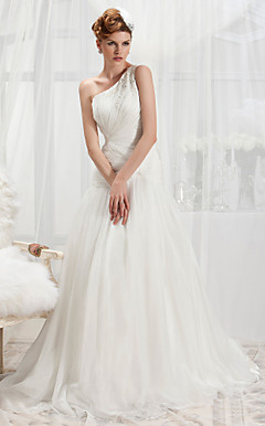 Trumpet/Mermaid One Shoulder Court Train Chiffon Wedding Dress