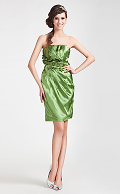 Sheath/ Column Strapless Short/ Mini Stretch Satin Bridesmaid Dress