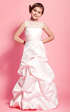 A-line Scoop Floor-length Satin Lace Junior Bridesmaid Dress With Pick Up Skirt