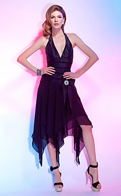 A-line Halter Asymmetrical Chiffon Over Taffeta Cocktail Dress