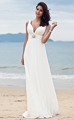 Sheath/ Column V-neck Sweep/ Brush Train Chiffon Wedding Dress