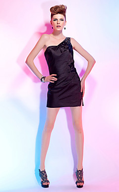 Sheath/Column One Shoulder Short/Mini Stretch Satin Cocktail Dress