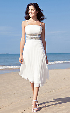 Sheath/ Column Spaghetti Straps Tea-length Chiffon Wedding Dress