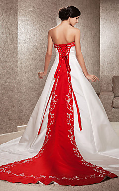A-line Strapless Satin Chapel Train Wedding Dress