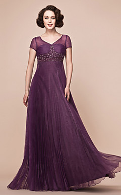 A-line V-neck Floor-length Organza And Stretch Satin Mother Of The Bride Dress