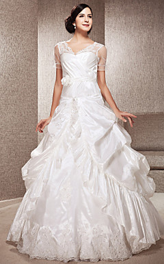 A-line V-neck Floor-length Taffeta And Tulle Wedding Dress