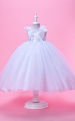 Ball Gown Neck Tea-length Tulle And Taffeta Flower Girl Dress