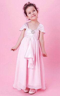 A-line Ankle-length Flower Girl Dress With Square Neck In Stretch Satin And Chiffon