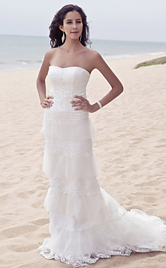 Sheath/Column Sweetheart Sweep / Brush Train Wedding Dress