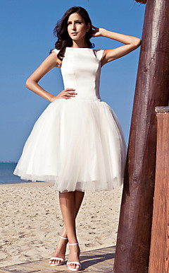 Audrey Hepburn Funny Face Ball Gown Bateau Knee-length Satin Tulle Wedding Dress