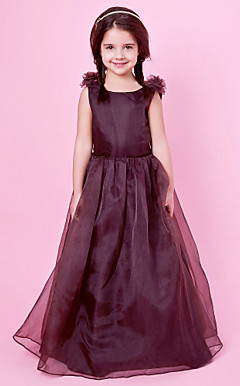 A-line Jewel Neck Organza And Satin Flower Girl Dress With Bow