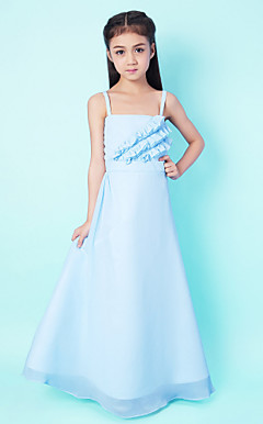 A-line Spaghetti Strap Floor-length Chiffon Junior Bridesmaid Dress