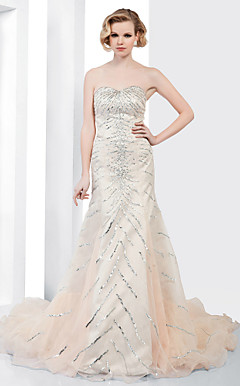 Organza Trumpet/ Mermaid Sweetheart Court Train Evening Dress inspried by Ashley Greene