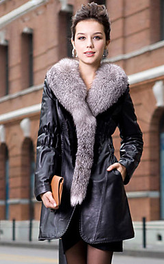 Shawl Collar Long Sleeve Lambskin Leather/Mink Fur Office Coat With Pockets (More Colors)