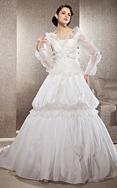 A-line Square Neck Court Train Taffeta And Organza Wedding Dress