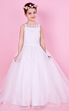 A-line Spaghetti Strap Beaded Organza And Satin Flower Girl Dress