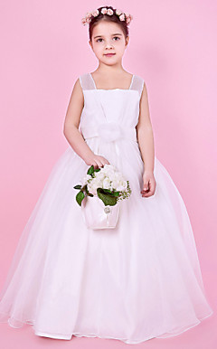 Ball Gown Square Floor-length Organza Over Satin Flower Girl Dress