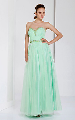 Sheath/Column Sweetheart Floor-length Tulle Evening Dress