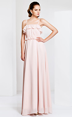 Sheath/Column Spaghetti Strap Floor-length Chiffon Evening Dress