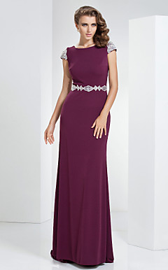 Sheath/Column Bateau Sweep/Brush Train Linen Evening Dress