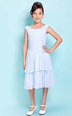 A-line Scoop Knee-length Chiffon Junior Bridesmaid Dress