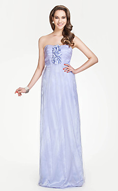 Strapless Sheath/Column Floor-length Tulle Over Charmeuse Bridesmaid Dress