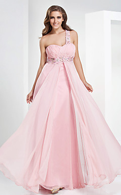 A-line One Shoulder Sweetheart Floor-length Chiffon Evening Dress