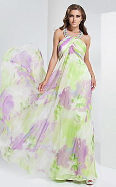 Sheath/Column Jewel Floor-length Chiffon Evennig Dress