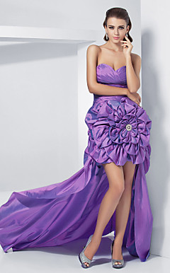 Ball Gown Sweetheart Asymmetrical Taffeta Evening Dress With Sweep/Brush Train