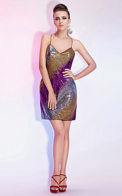 Sheath/Column Spaghetti Straps Short/Mini Sequined Cocktail Dress