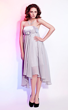 Sheath/Column Strapless Asymmetrical Tea-length Chiffon Evening Dress