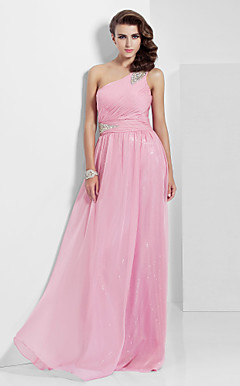 Sheath/ Column One Shoulder Floor-length Chiffon Sequined Evening Dress