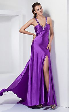 Empire Sheath/ Column V-neck Sweep/ Brush Train Stretch Satin Evening Dress