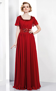 Sheath/Column Scoop Floor-length Chiffon Sequined Evening Dress