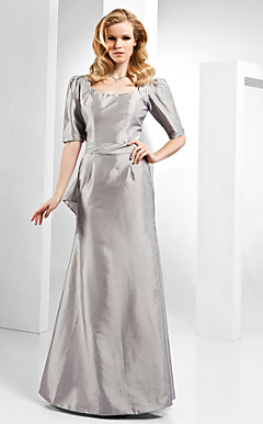 A-line Scoop Floor-length Taffeta Evening Dress