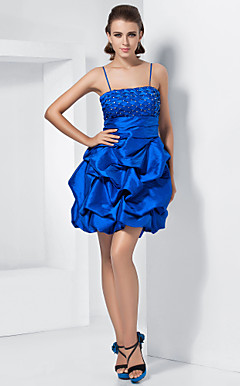 Ball Gown Spaghetti Straps Short/Mini Taffeta Cocktail Dress With Removable straps