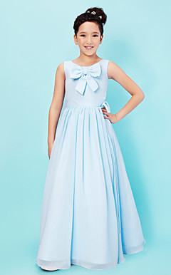 A-line Scoop Floor-length Chiffon Junior Bridesmaid Dress