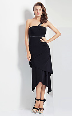 Sheath/Column One Shoulder Asymmetrical Jersey Evening Dress