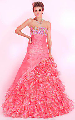 A-line Strapless Floor-length Organza Prom Dress