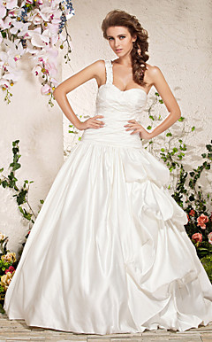 A-line One Shoulder Floor-length Satin Wedding Dress