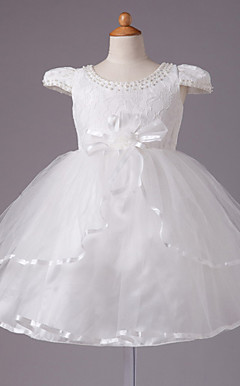 Ball Gown Jewel Knee-length Satin Short Sleeve Flower Girl Dress